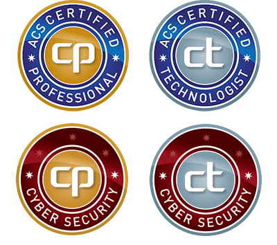 ACS  Certified Professional and Technologist, plus Cybersecurity Specialism