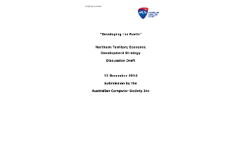 Submissions to NT Economic Development Strategy - December 2014